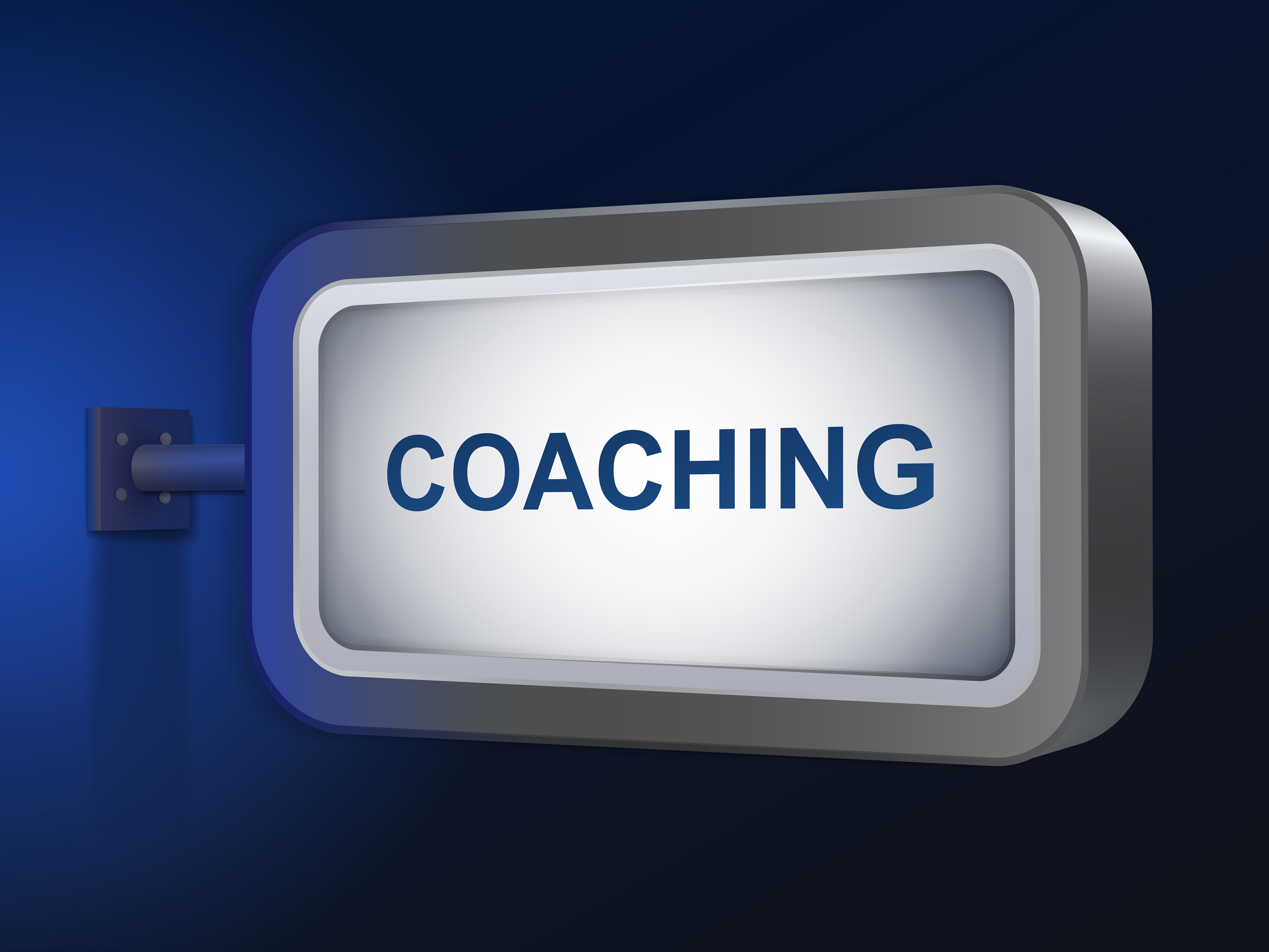 coaching word on billboard over blue background